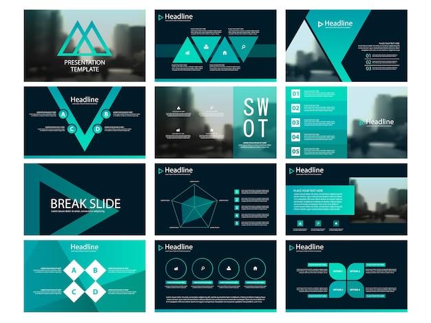 Modelos de apresentação de triângulo verde infográfico