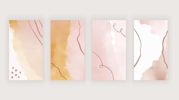 Modelos de aquarela rosa e laranja para histórias nas redes sociais