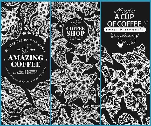 Modelos de bandeira de árvore de café.