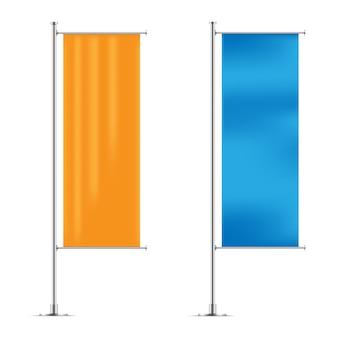 Modelos de bandeiras de banner vertical amarelo e azul