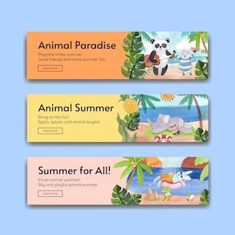 Modelos de banner com animais no verão em estilo aquarela