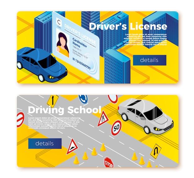 Modelos de banner da escola de condução, identificação da licença e carro no campo de treinamento