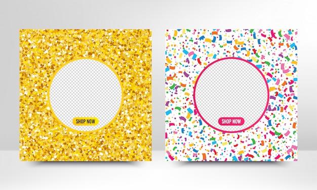 Modelos de banner da web com molduras douradas de glitter e confetes