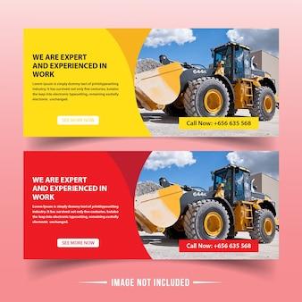 Modelos de banner da web de construção