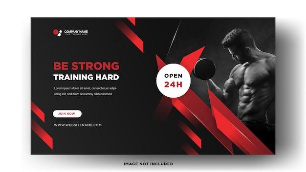 Modelos de banner da web. ginásio com design elegante