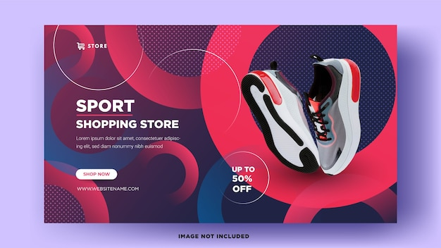 Modelos de banner da web. venda de calçados esportivos com designs elegantes