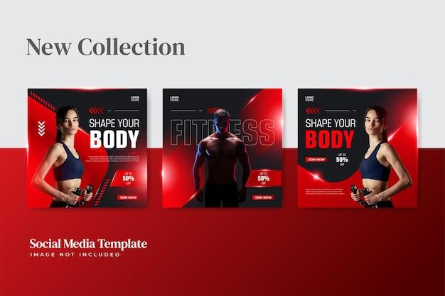 Modelos de banner de coleção de fitness