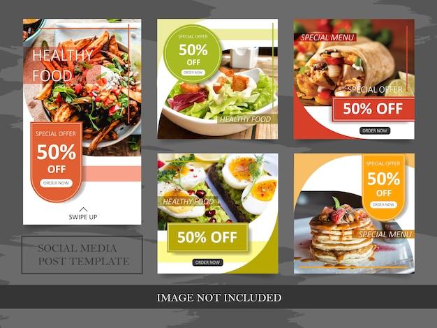Modelos de banner de desconto de comida para post de mídia social