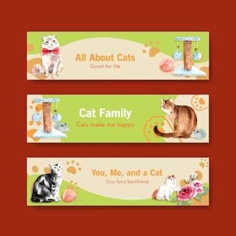 Modelos de banner de gatos fofos