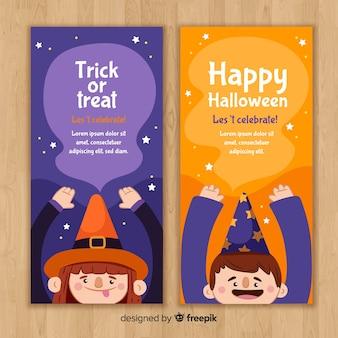 Modelos de banner de halloween com crianças