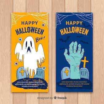 Modelos de banner de halloween com mão fantasma e zumbi