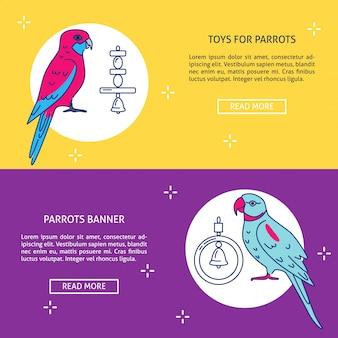Modelos de banner de loja de animais com papagaios