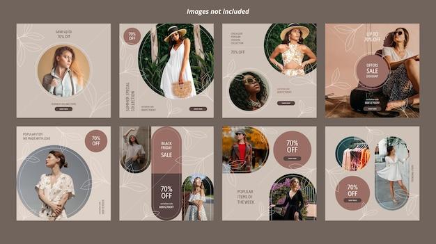 Modelos de banner de mídia social de comércio eletrônico de moda