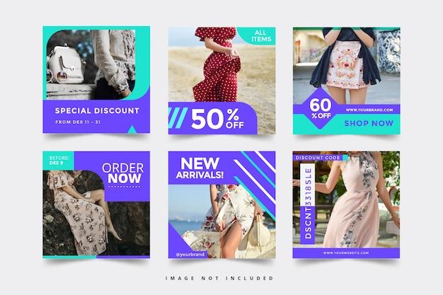 Modelos de banner de moda mídias sociais