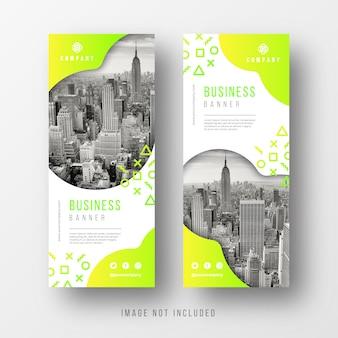 Modelos de banner de negócio abstrato com formas arredondadas