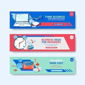 Modelos de banner de negócios em aquarela