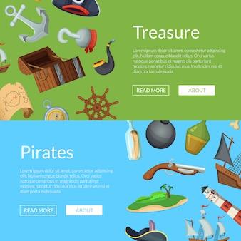 Modelos de banner de piratas do mar dos desenhos animados