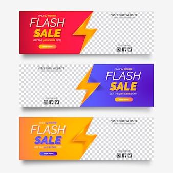 Modelos de banner de venda com espaço para foto