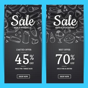 Modelos de banner de venda com lugar para texto e produtos lácteos esboçados na ilustração de fundo do quadro-negro
