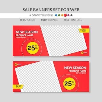 Modelos de banner de venda vermelho editável para web