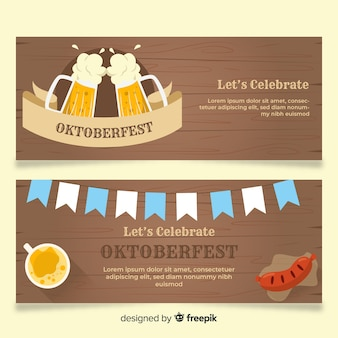 Modelos de banner design plano oktoberfest