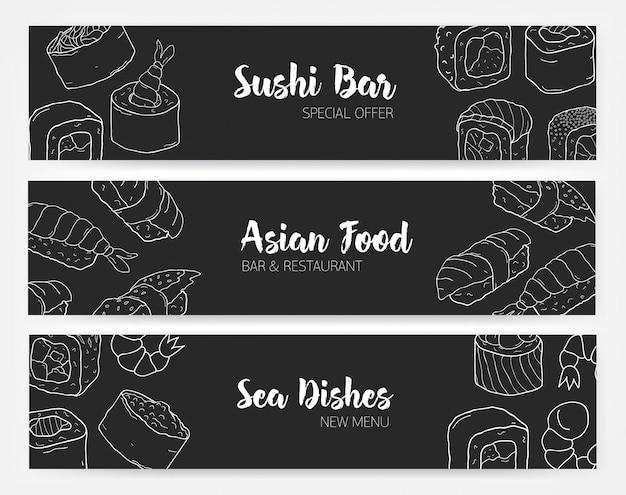 Modelos de banner elegante nas cores preto e branco com sushi e rolos desenhados à mão com linhas de contorno. ilustração monocromática para restaurante de comida japonesa ou asiática.
