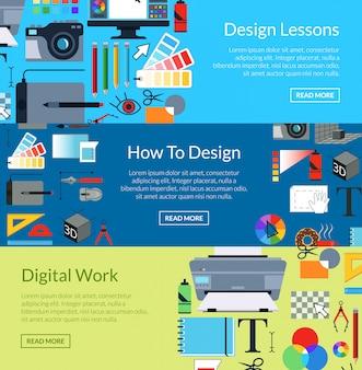 Modelos de banner horizontal de design de arte digital. aulas e trabalhos digitais. cartaz de design web