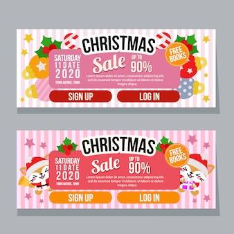 Modelos de banner horizontal de venda de natal