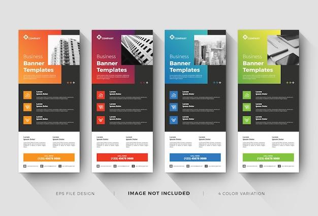 Modelos de banner ou x-banner de negócios com variação de cores