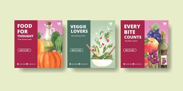 Modelos de banner para o dia mundial do vegetariano em estilo aquarela