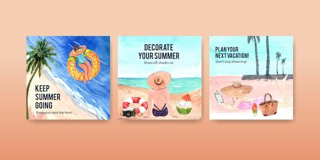 Modelos de banner quadrado verão
