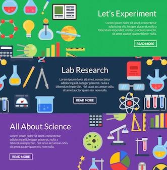 Modelos de banner vector web com ícones de ciência estilo simples