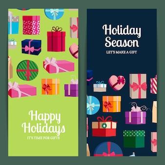 Modelos de banner vertical com caixas de presente e lugar para texto. cartaz temporada de férias com caixa de presente colorida