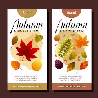 Modelos de banner vertical de venda de outono