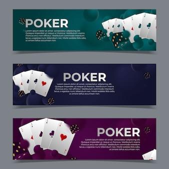 Modelos de banners da web de pôquer de cassino.
