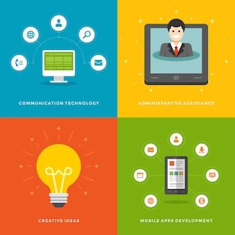 Modelos de banners de promoção do site e conjunto de ilustrações de ícones planas