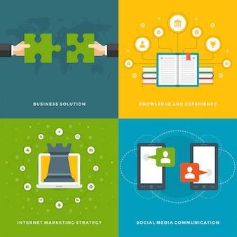 Modelos de banners de promoção do site e design de ícones plana.