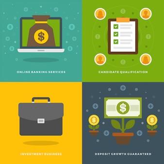 Modelos de banners de promoção do site e ícones planas
