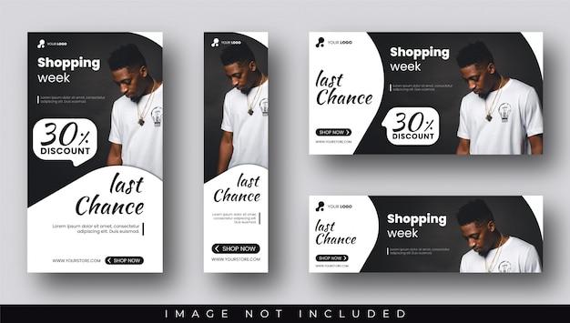 Modelos de banners e histórias de venda com desconto