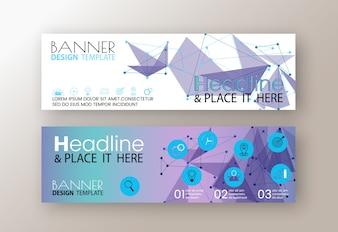 Modelos de banners web design moderno flyer roxo