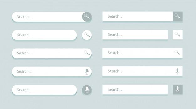 Modelos de barra de pesquisa para interface do usuário, design e site.