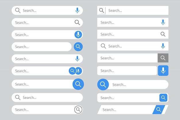 Modelos de barras de pesquisa definidos com lista pop-up ou resultados de pesquisa.