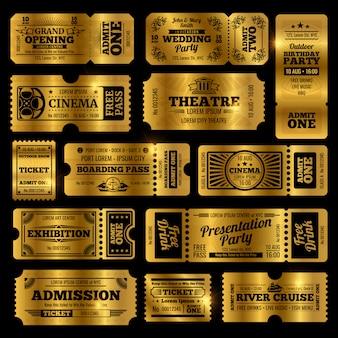 Modelos de bilhetes de admissão vintage de circo, festa e cinema.