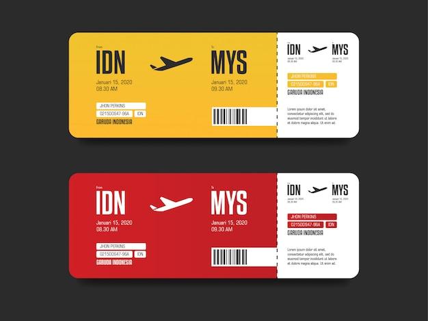 Modelos de bilhetes de avião vermelho e amarelo