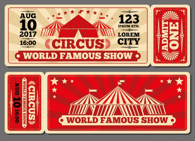 Modelos de bilhetes de entrada para espetáculos mágicos de circo