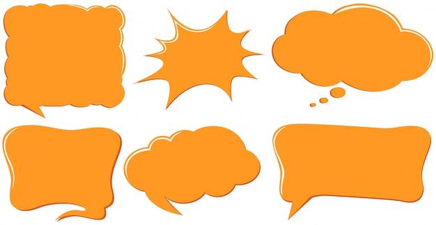 Modelos de bolha do discurso na cor laranja
