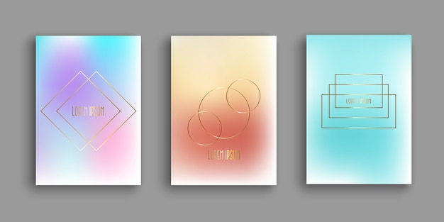 Modelos de brochura abstrata com desenhos gradientes