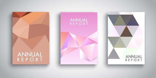 Modelos de brochura com desenhos abstratos de baixo poli