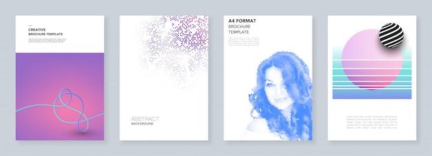 Modelos de brochura mínima com padrões geométricos coloridos, gradientes, formas fluidas em estilo minimalista