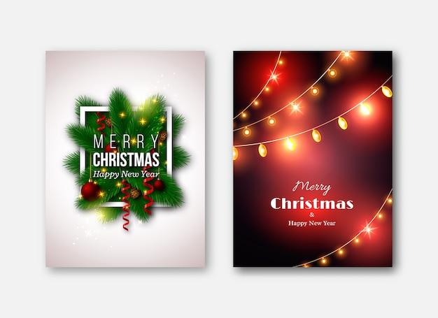 Modelos de brochuras de natal, cartões decorativos. decoração de pinheiro de ano novo, bola vermelha, guirlanda de luzes brilhantes, cones de abeto.